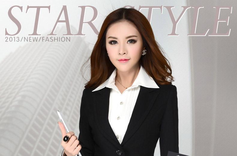 修身职业装女装套装长袖西服正装女工作服